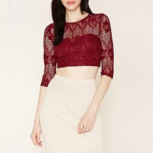 Forever 21 Lace Crop Top Floral Red Wine L